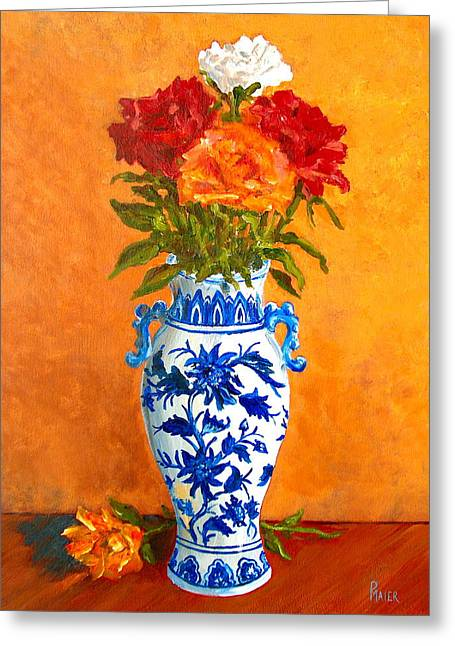 Delft Greeting Cards - Five Roses II Greeting Card by Pete Maier