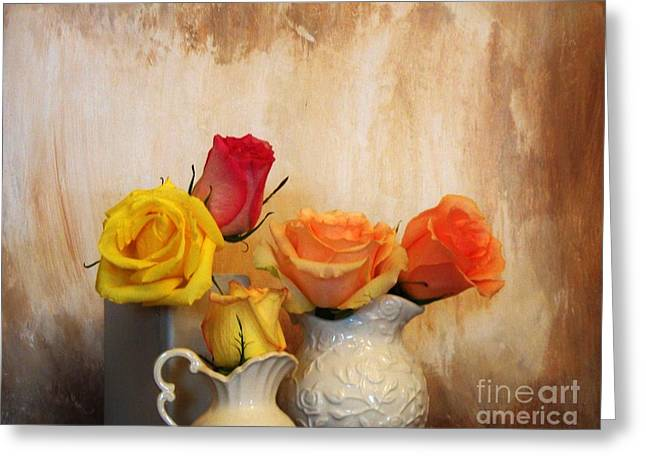 Photos With Red Photographs Greeting Cards - Five Roses Greeting Card by Marsha Heiken
