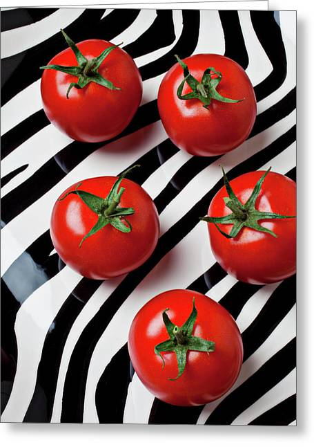 Fresh Produce Greeting Cards - Five tomatoes  Greeting Card by Garry Gay