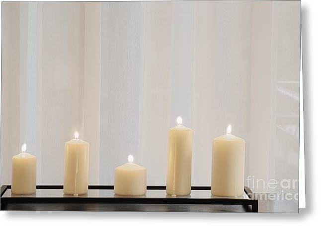 Candle Stand Greeting Cards - Five White Lit Candles Greeting Card by Andersen Ross