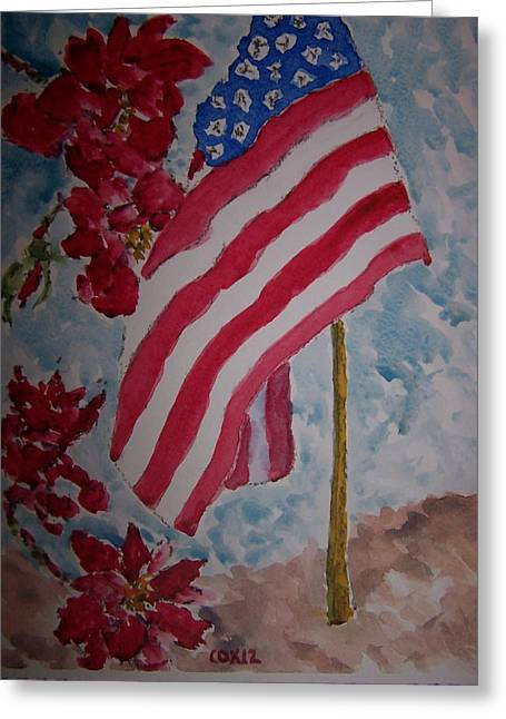 4th July Paintings Greeting Cards - Flag And Roses Greeting Card by James Cox