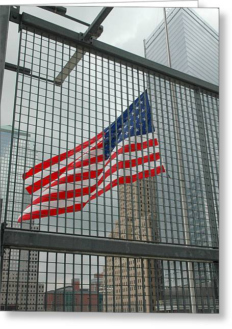 Half Staff Greeting Cards - Flag at Ground Zero Greeting Card by Frank Mari