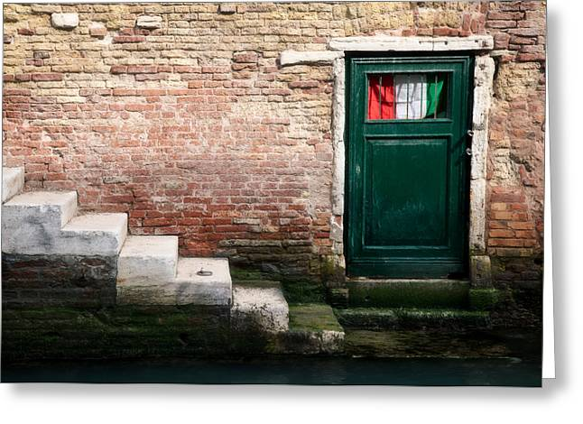 Venice Italy Greeting Cards - Flag Greeting Card by Dave Bowman