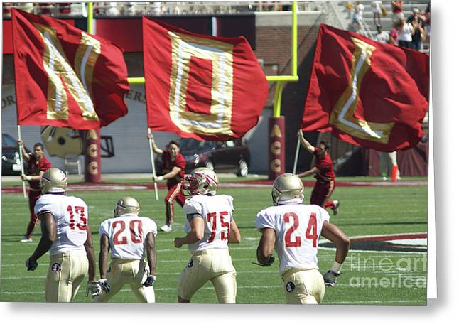 Nole Greeting Cards - Flag Football Greeting Card by Allen Simmons