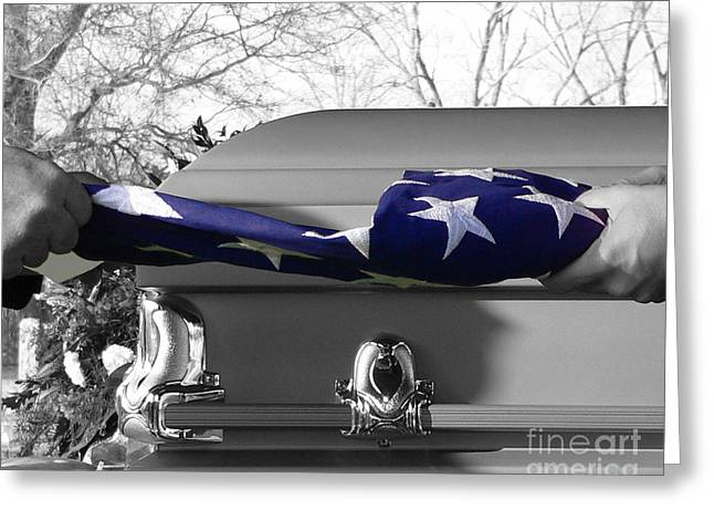 Mortality Greeting Cards - Flag for the Fallen - Selective Color Greeting Card by Al Powell Photography USA