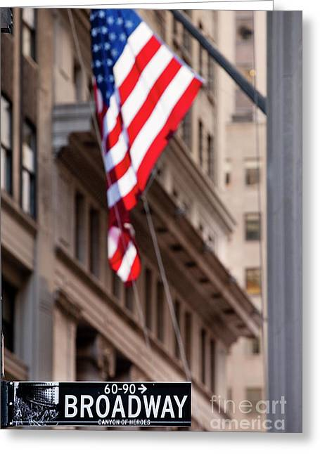 Wall Street Greeting Cards - Flag on Broadway Greeting Card by Brian Jannsen