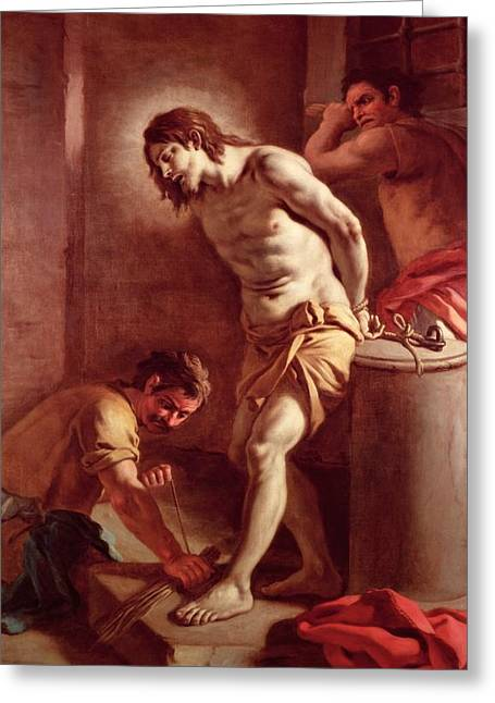 Prisoner Paintings Greeting Cards - Flagellation of Christ Greeting Card by Pietro Bardellini