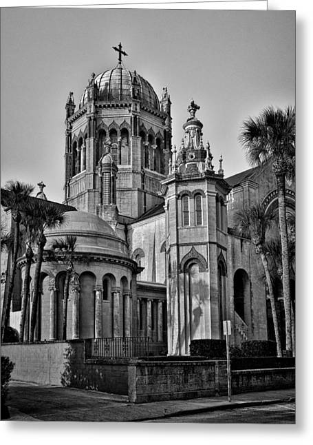 Flagler Greeting Cards - Flagler Memorial Presbyterian Church 3 - BW Greeting Card by Christopher Holmes