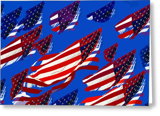 4th July Digital Art Greeting Cards - Flags American Greeting Card by David Lee Thompson
