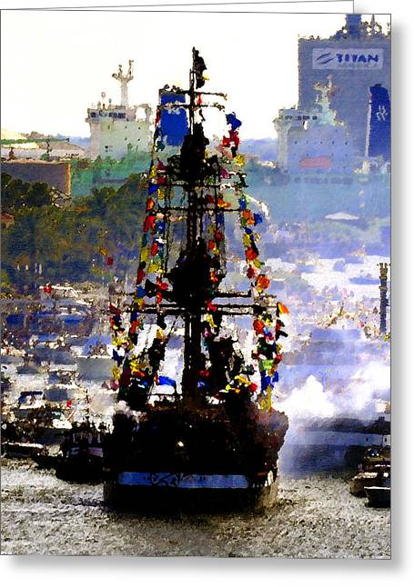 Pirate Ship Greeting Cards - Flags and Fire Greeting Card by David Lee Thompson