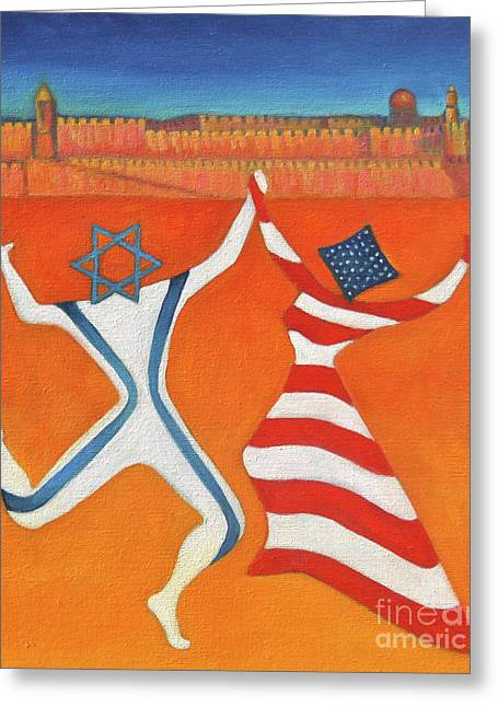 Pesach Greeting Cards - Flags Dancing with Israeli Man and American Woman       Greeting Card by Jane  Simonson