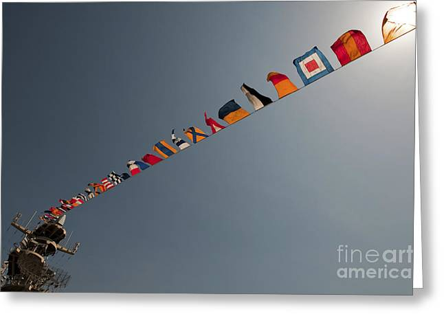 Symbolizes Greeting Cards - Flags Fly Over The Deck Of The Uss Iwo Greeting Card by Stocktrek Images