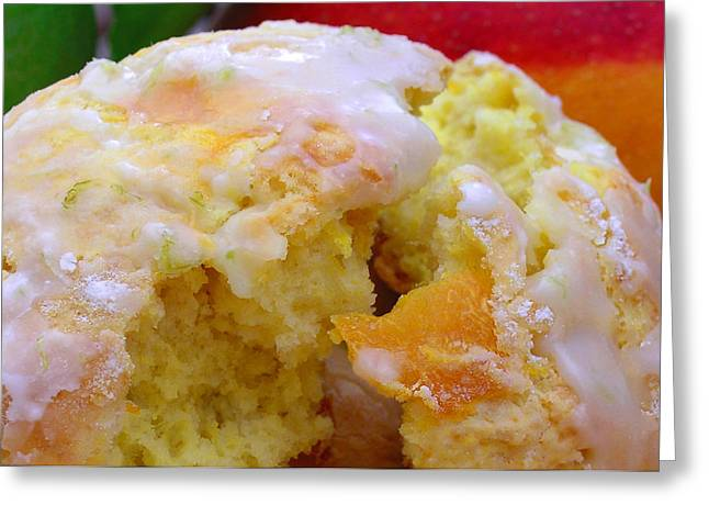 Mango Greeting Cards - Flaky Mango Scones with Lime Glaze Greeting Card by James Temple