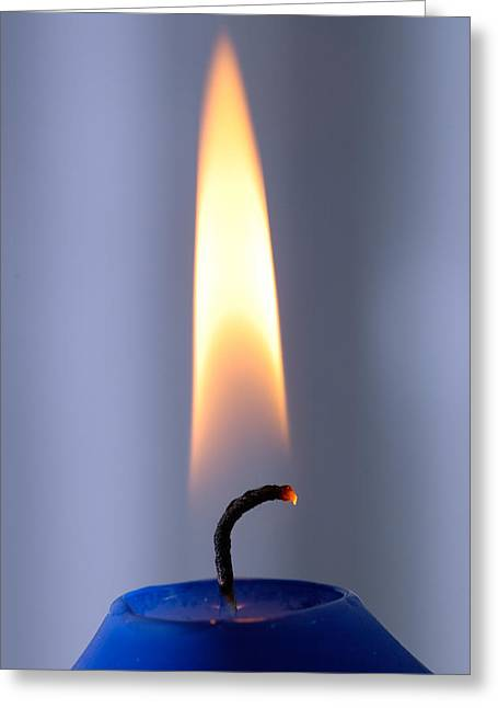 Wick Greeting Cards - Flame of a burning candle Greeting Card by Matthias Hauser