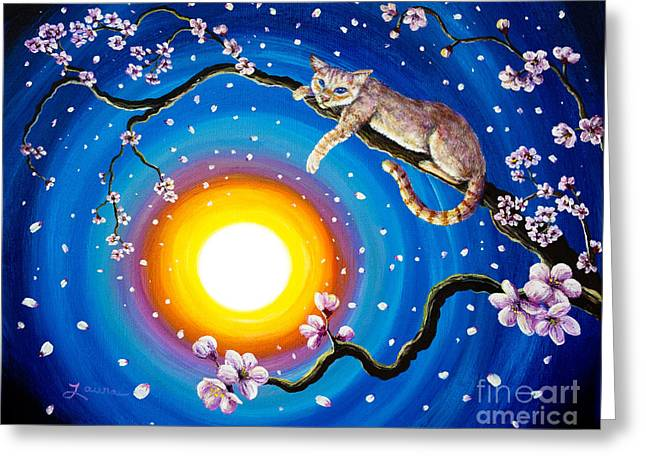 Red Point Greeting Cards - Flame Point Siamese Cat in Cherry Blossoms Greeting Card by Laura Iverson
