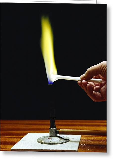 Flame Test Greeting Cards - Flame Test On Sodium Greeting Card by Andrew Lambert Photography