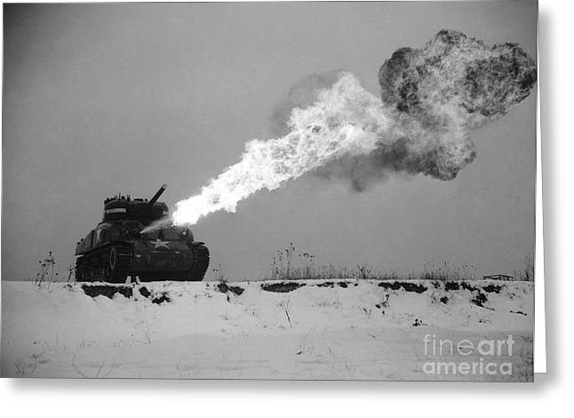 Historic Tank Greeting Cards - Flame-throwing Tank Greeting Card by Photo Researchers