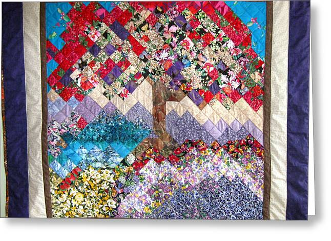 Brown Tones Tapestries - Textiles Greeting Cards - Flame Tree quilted wallhanging Greeting Card by Sarah Hornsby
