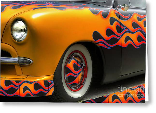 Mercury Hot Rod Greeting Cards - Flamed Merc Greeting Card by David  Hubbs