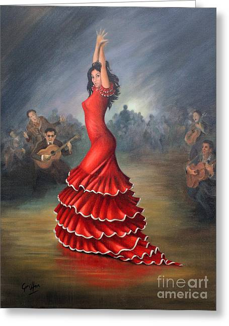 Red Dress Greeting Cards - Flamenco Dancer Greeting Card by Mai Griffin