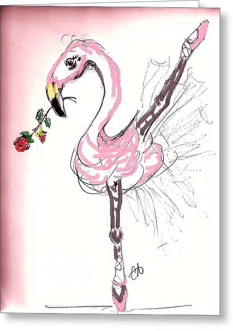 Dance Ballet Roses Greeting Cards - Flamenco Flamingo Greeting Card by Carol Allen Anfinsen