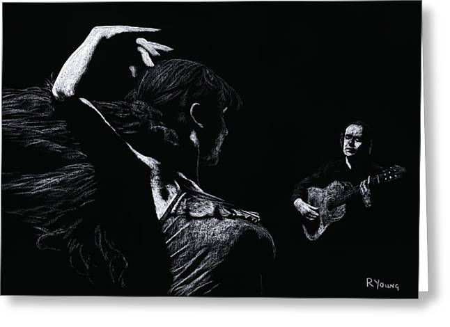 Dancers Pastels Greeting Cards - Flamenco Recital Greeting Card by Richard Young