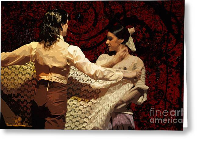Ecru Greeting Cards - Flamenco Series No 3 Greeting Card by Mary Machare