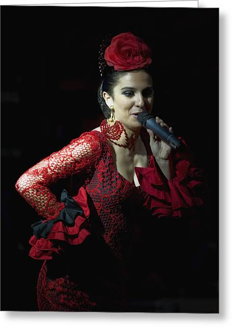 Embroidered Dress Greeting Cards - Flamenco Singer 2 Greeting Card by Kenton Smith