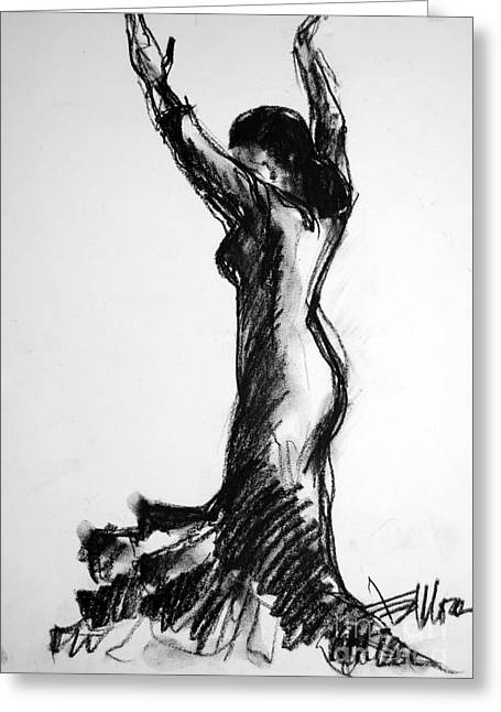 Impressionist Drawings Greeting Cards - Flamenco Sketch 3 Greeting Card by Mona Edulesco