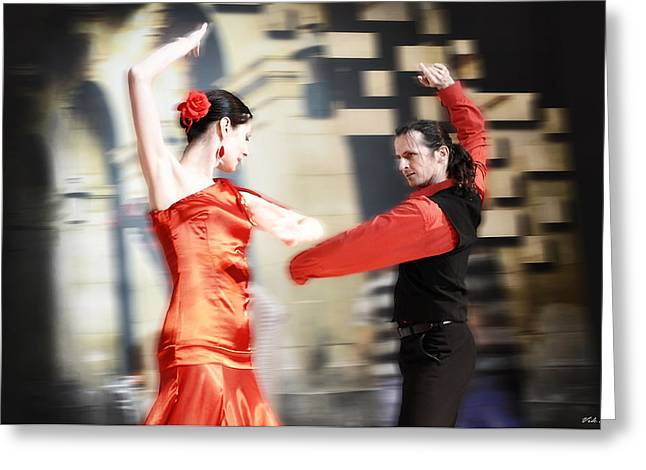 Dance Ballet Roses Greeting Cards - Flamenco Greeting Card by Viktor Korostynski