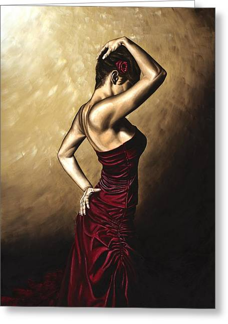 Red Dress Greeting Cards - Flamenco Woman Greeting Card by Richard Young