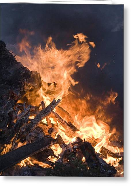 Bonfire Night Greeting Cards - Flames From A Bonfire Greeting Card by Mark Williamson