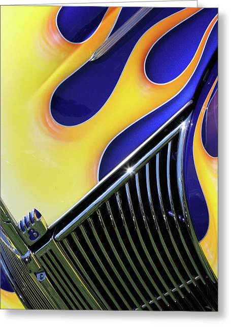 Blue Classic Car Greeting Cards - Flames Greeting Card by Rebecca Cozart