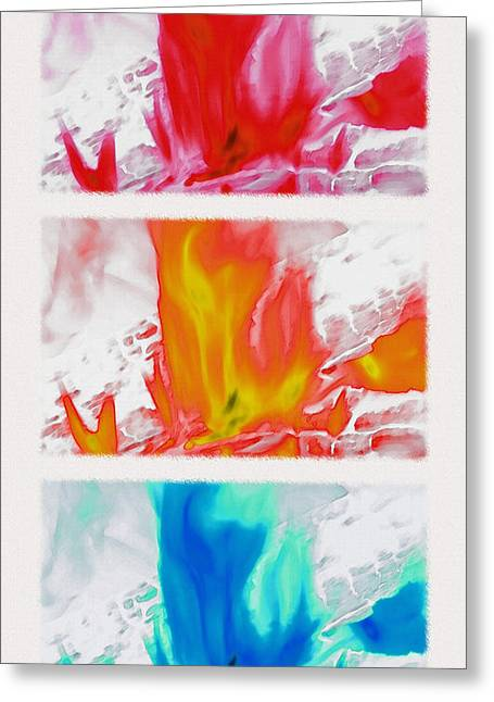 On Fire Mixed Media Greeting Cards - Flames Triptych - Inverted Greeting Card by Steve Ohlsen