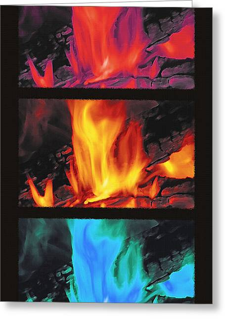 On Fire Mixed Media Greeting Cards - Flames Triptych Greeting Card by Steve Ohlsen