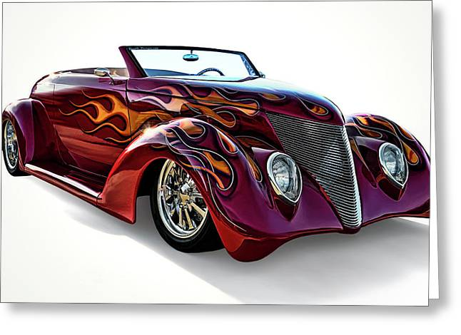 Vintage Transportation Greeting Cards - Flamin Red Roadster Greeting Card by Douglas Pittman