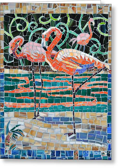 Birds Glass Art Greeting Cards - Flaming Flamingos Greeting Card by Li Newton