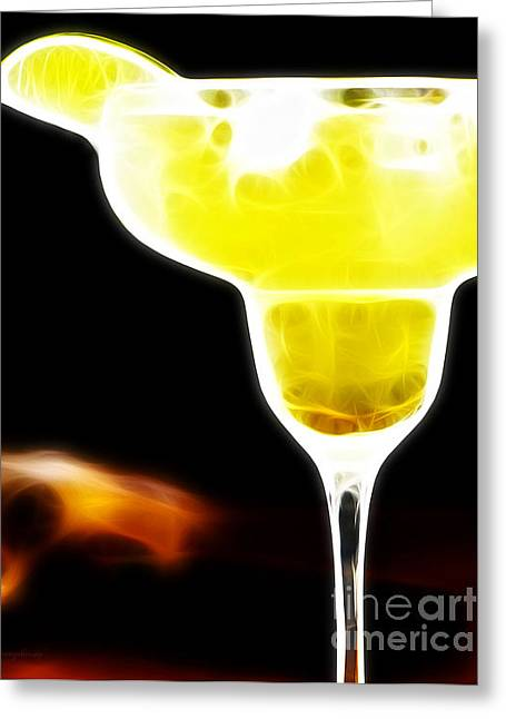 Booze Greeting Cards - Flaming Hot Margaritaville Greeting Card by Wingsdomain Art and Photography