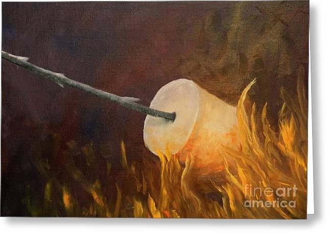 Toast Paintings Greeting Cards - Flaming Greeting Card by Joi Electa