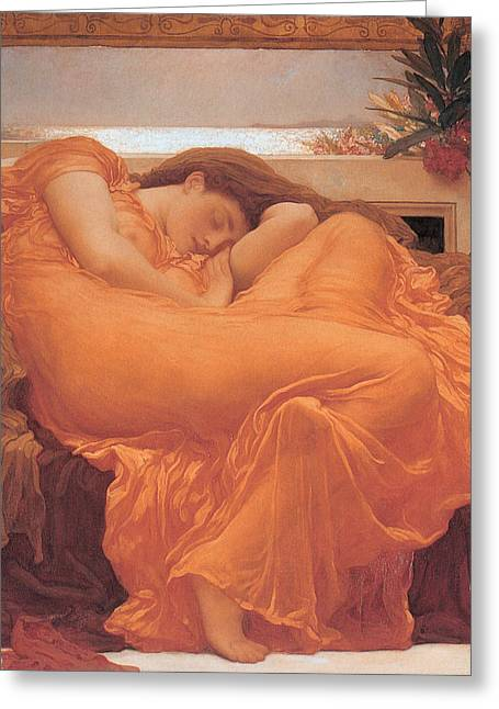 Flame Greeting Cards - Flaming June - 1895 Greeting Card by Lord Frederic Leighton