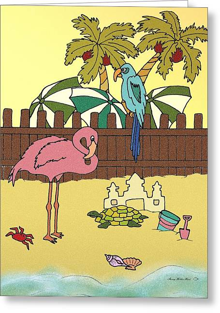 Sand Castles Mixed Media Greeting Cards - Flamingo Bay 4 Greeting Card by Sherry Holder Hunt
