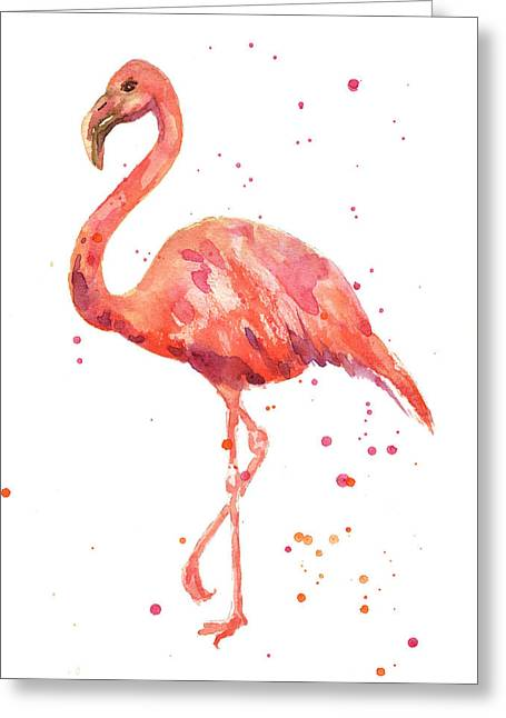 Watercolour Paintings Greeting Cards - Flamingo Facing Left Greeting Card by Alison Fennell