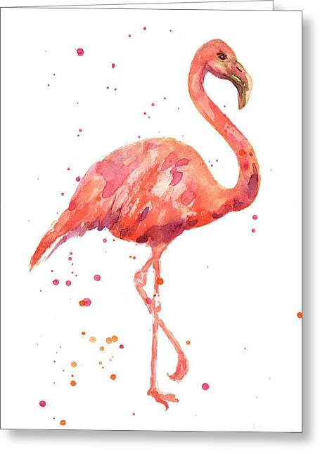 Watercolour Paintings Greeting Cards - Flamingo Facing Right Greeting Card by Alison Fennell