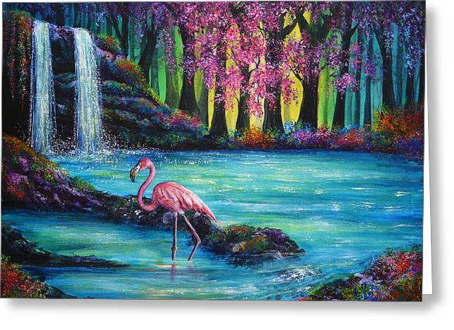 Kinkade Greeting Cards - Flamingo Falls Greeting Card by Ann Marie Bone