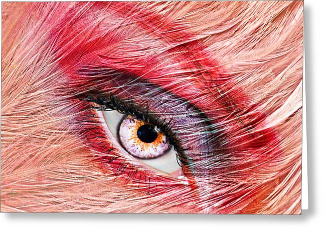 Eyelash Greeting Cards - Flamingo Greeting Card by Yosi Cupano