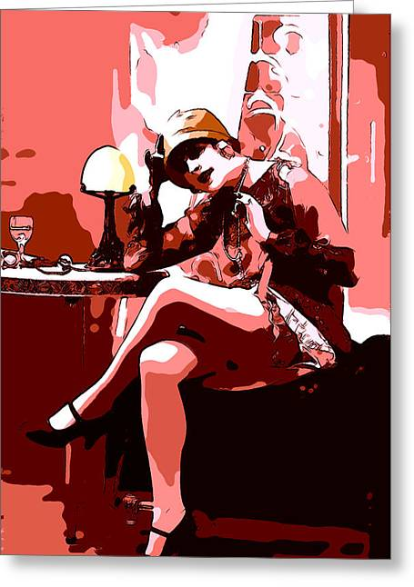 Flapper Greeting Cards - Flapper Girl 3 Greeting Card by Stefan Kuhn