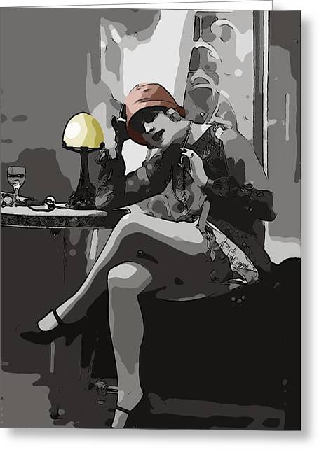 Flapper Greeting Cards - Flapper Girl Greeting Card by Stefan Kuhn