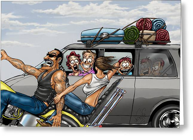 Road Trip Drawings Greeting Cards - Flash Greeting Card by Jon Towle