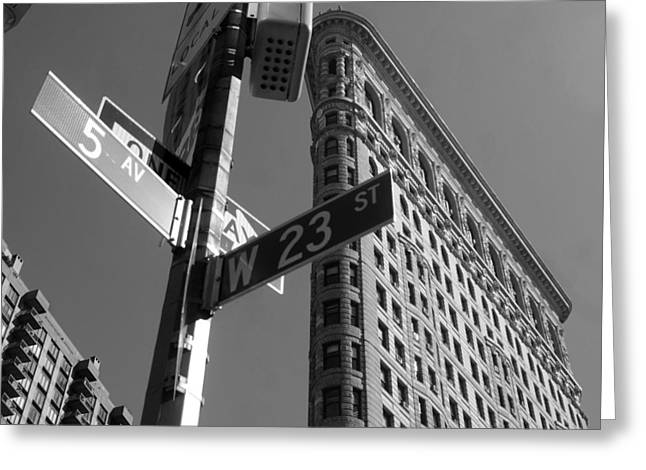 5th Ave Greeting Cards - Flat Iron 5th ave Greeting Card by Mike Lindwasser Photography
