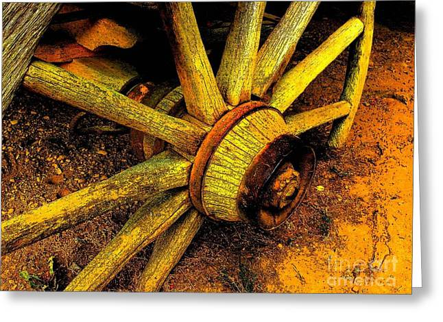 Wagon Wheels Photographs Greeting Cards - Flat Greeting Card by Robert Hooper